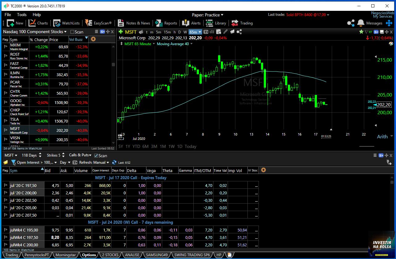 Aba Options no TC2000 inclui um tema pré-configurado para traders de opções