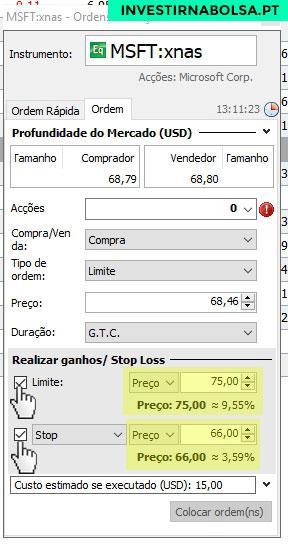 Plataforma Saxo Trader (Orey iTrade, GoBulling, Banco Best) Take Profit e Stop Loss
