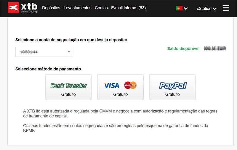 Área de Cliente XTB Portugal