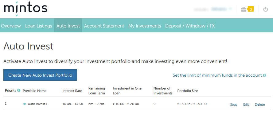 Auto invest na Plataform p2p lending Mintos