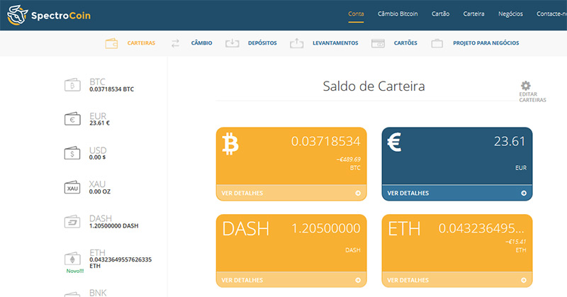 Carteira Virtual Spectrocoin com Dash