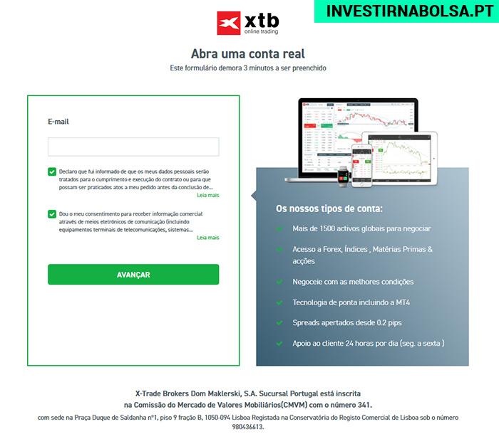 Como abrir conta na XTB Portugal