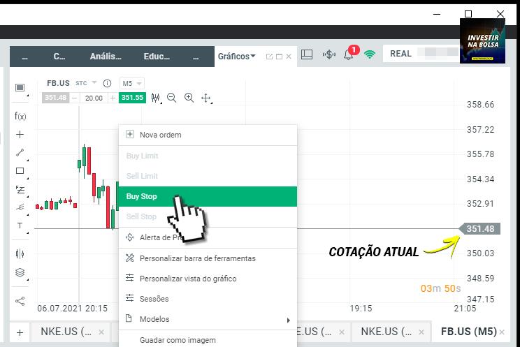 Como comprar ações através do gráfico