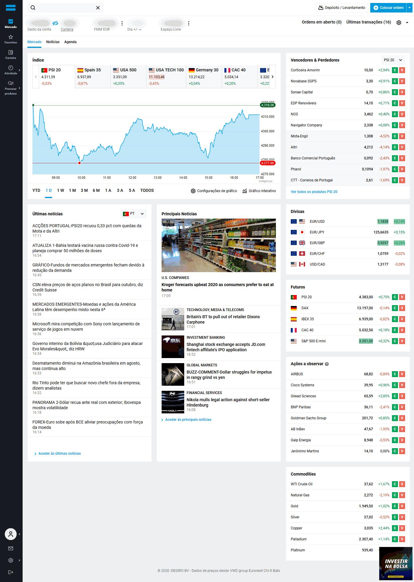 Como funciona a corretora DEGIRO - página inicial do investidor