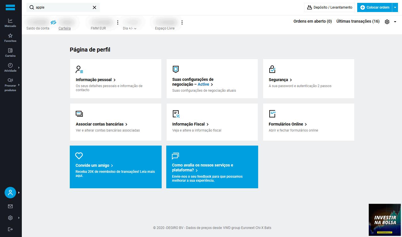 Como funciona a corretora DEGIRO - Página de perfil