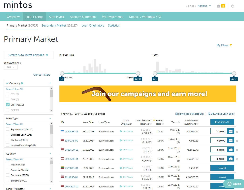 Como investir na plataforma de crowdfunding Mintos.com