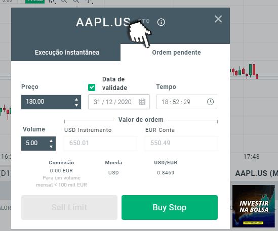 Comprar ações pendentes na plataforma xStation 5