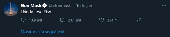 Tweet de Elon Musk sobre a Etsy