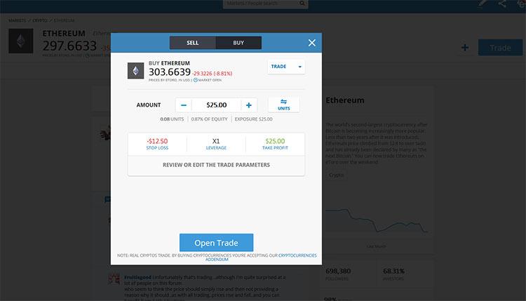 Investir dinheiro em Ethereum na Etoro