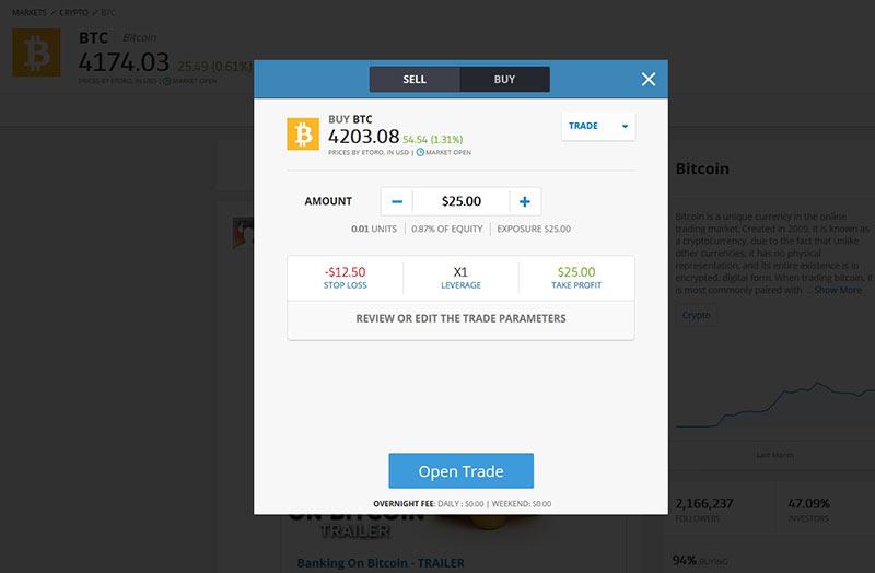 Investir em Bitcoins na etoro