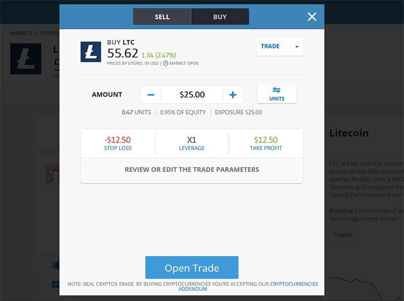 Investir dinheiro em Litecoin na Etoro