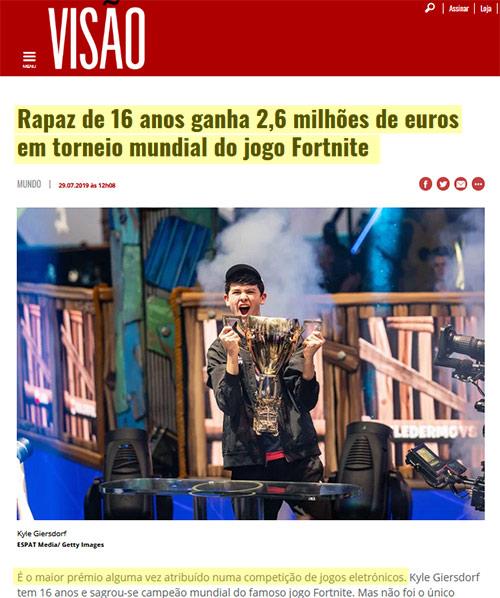 Notícia do rapaz milionário do Fortnite