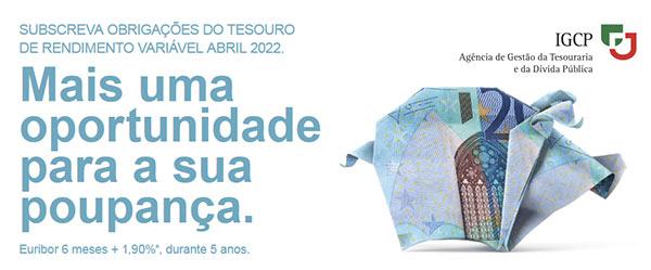 Publicidade Obrigações do Tesouro Rendimento Variável Abril 2022 (OTRV)
