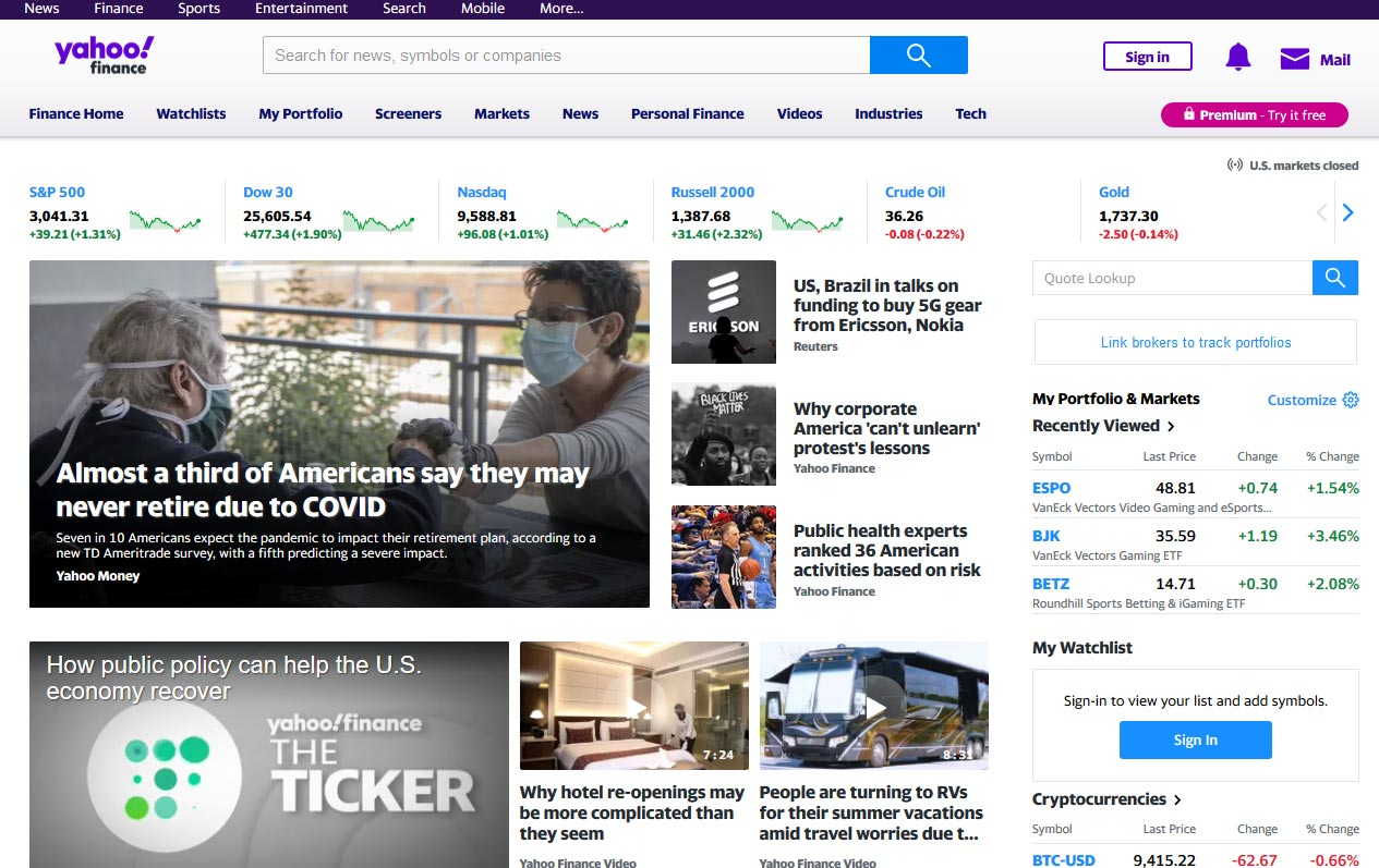 Página Yahoo Finance