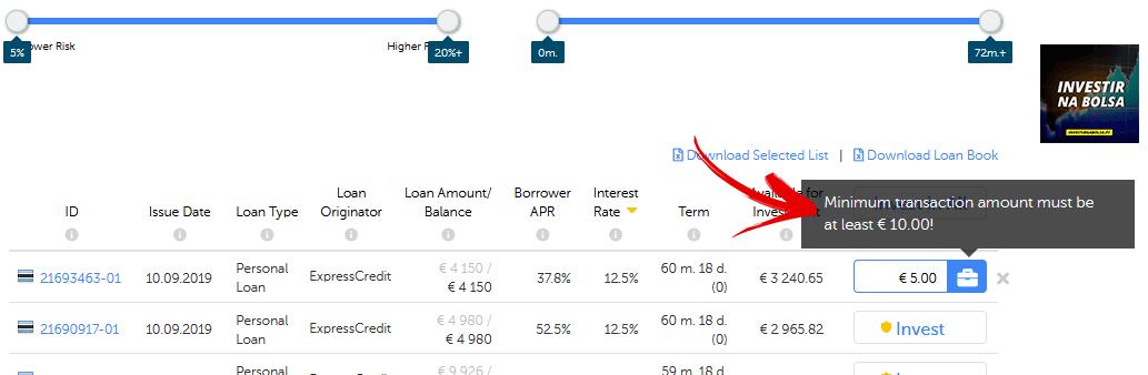 Valor mínimo para investir em empréstimos na Mintos